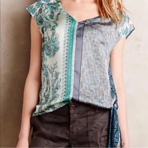 Anthro Tiny Blue Green Patchwork Knot Blouse S